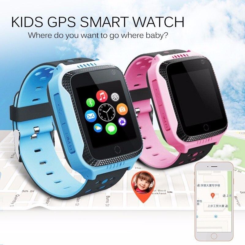 1 44 HD Touch Screen Children s GPS Smart Wristband Band Support SIM Card Flashlight Camera