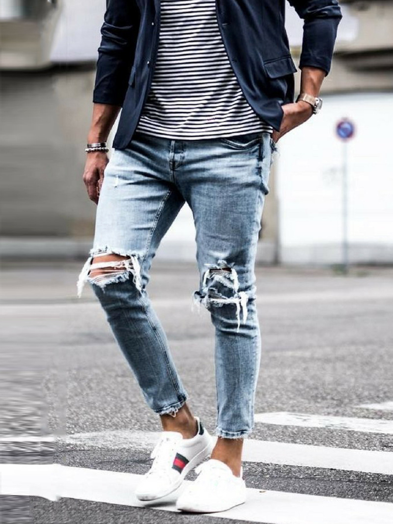 New Streetwear Skinny Destroyed Ripped Jeans for Men