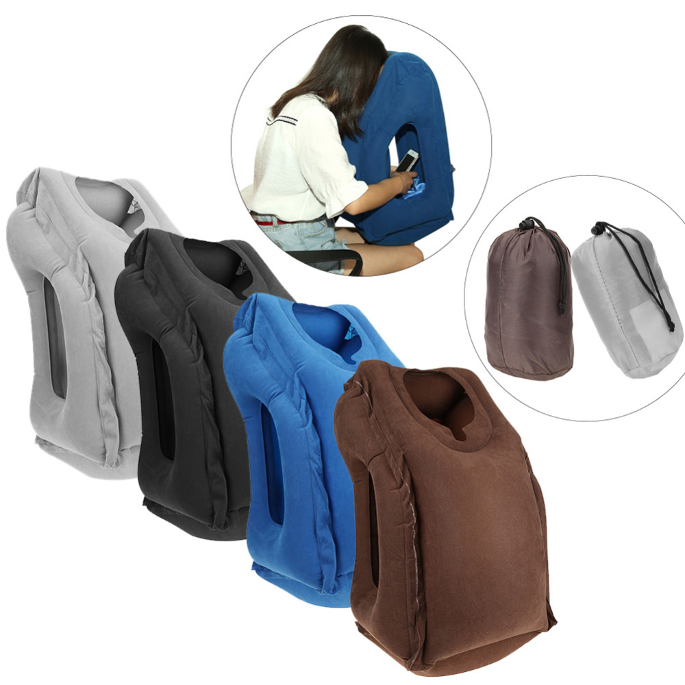 Inflatable Travel Office Pillow Air Soft Cushion Trip