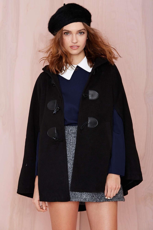 Châle 2018 Streetwear Mode Laine Style Black Femmes Ponchos De Et Femme Capes Couverture Mélange Cape Manteau D'hiver 4Y4qT