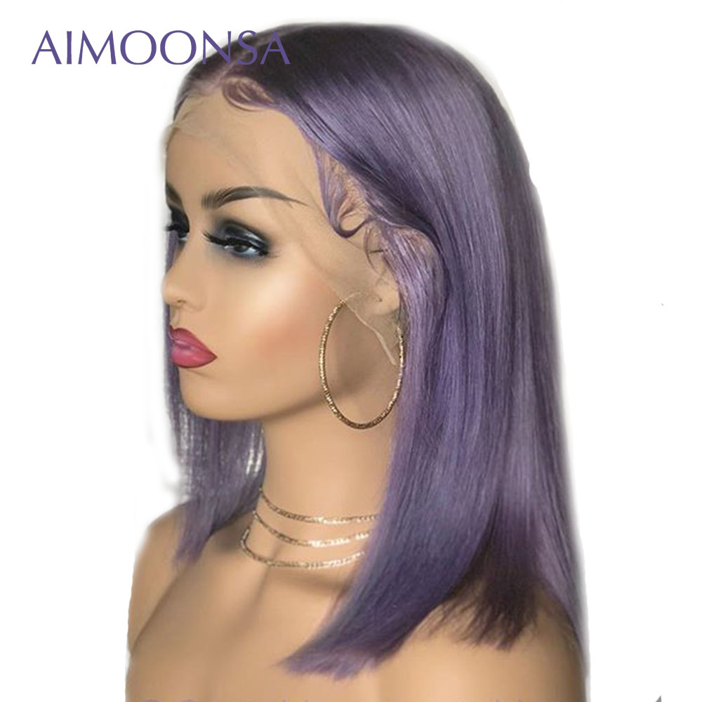 Purple Wig Colored Short Human Hair Straight Lace Front Wig Ombre Wig Pre Plucked Lace Wig