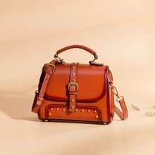 New fashion real leather bags for women vintage genuine leather handbag branded women's shoulder bag цена