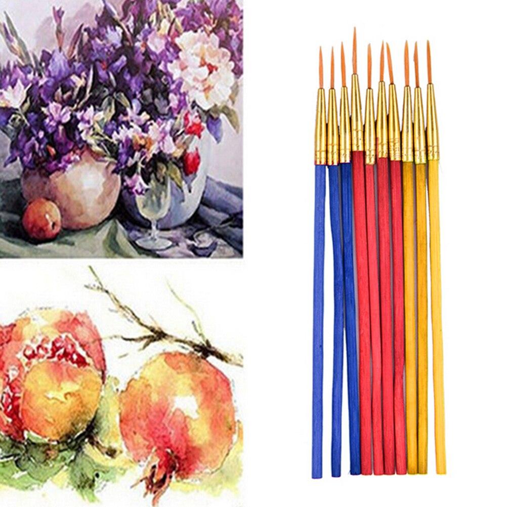 10pcs/set Brush Pens Watercolor Paintbrush Nail Art Powder Painting Pen For School Art Supplies Paint Brush Office Stationery