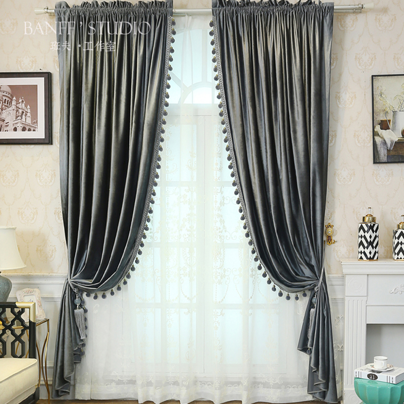 Pure Gray European Style Curtains For Living Dining Room Bedroom High-grade Thickening  Velvet Curtains All Blackout Curtains