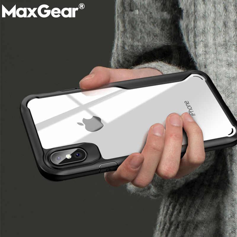 الهاتف حقيبة لهاتف أي فون 5 5s SE 6 6S 7 8 Plus X XR XS Max حالات حماية كاملة درع الغطاء الخلفي للآيفون XR شفافة فوندا