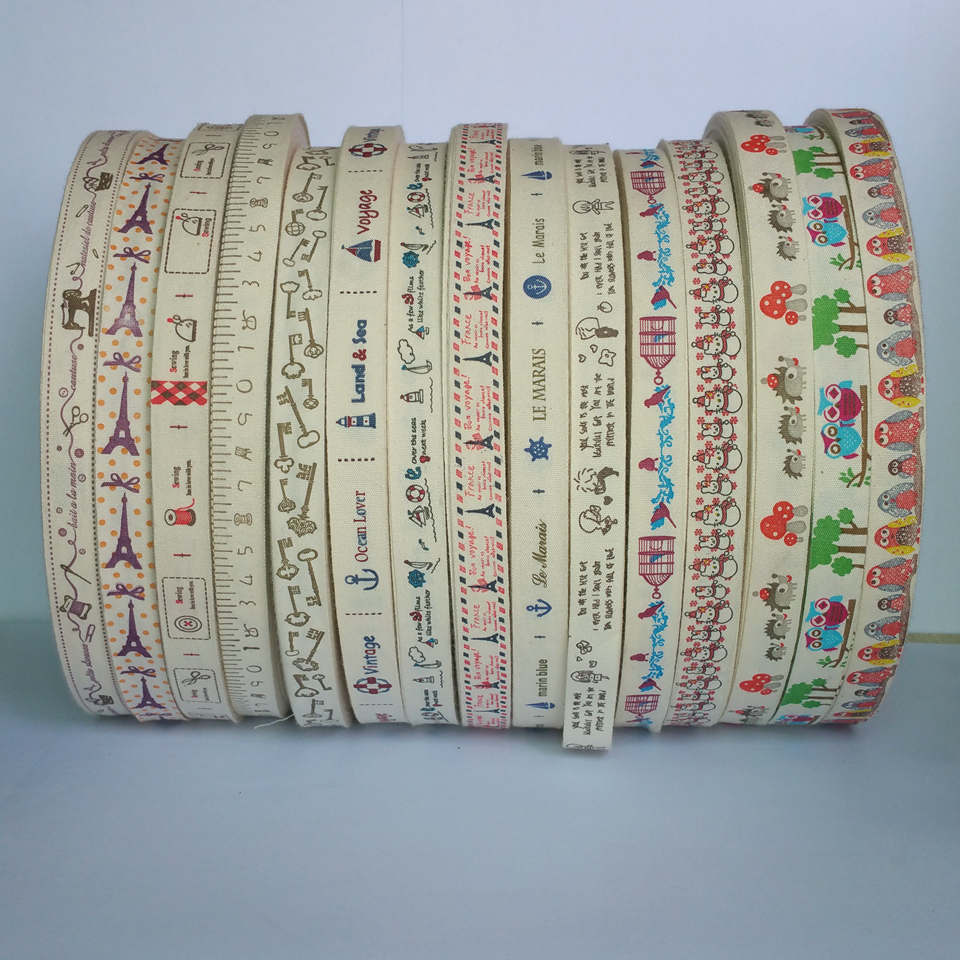 30 Yards 15 designs In stock 15mm 100% Cotton Printed Ribbon Sale hair accessories diy handmade garment accessoires