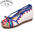 Vintage Embroidery Women Pumps Chinese Flower Embroidered Women's Casual Canvas Wedge Platform Linen Pump Med Heel Shoes