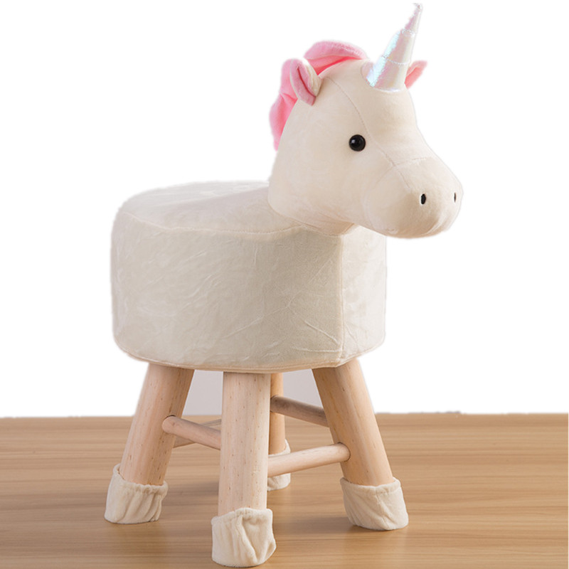 Kids Girls Animal Stool Pink Unicorn Crochet Stool Children Big Surprise Gift Accompany Child Toy Stool Special Birthday Gift phfu cartoon animal children antiskid stool bathroom stool feet stool pink piggy