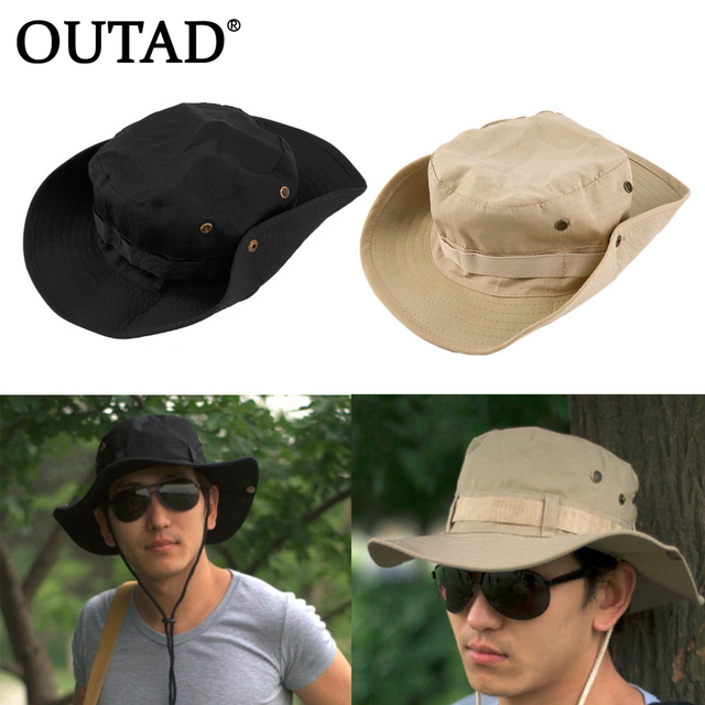 65184ea1e00 OUTAD Bucket Hat Boonie Hunting Fishing Outdoor Wide Cap Brim Military for Men  Women Male sun Fisherman hats