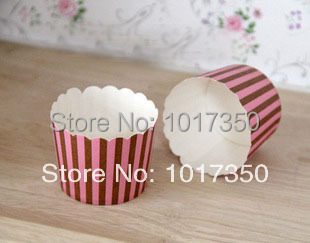 Chocolate brown&pink Stripe Muffin Cake Cup,Paper Baking Cups,Muffin liners,Cupcake Wrappers wedding supplies 100pcs