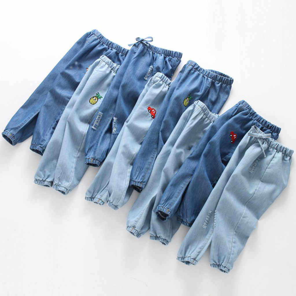 Children Baby Jeans Pants Boy Girl Cute Cartoon Hole Denim Long Pants Elastic Waist Jeans Clothes Autume Children's Jeans 2019