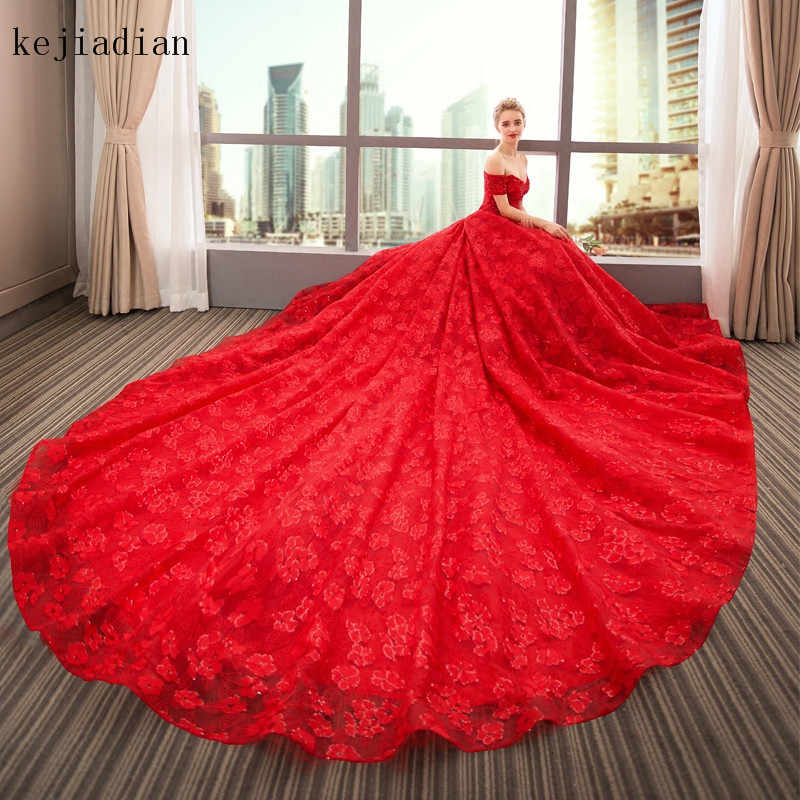 e5c3b6db4256 ... Vestido De Noiva Sexy Luxury lace Wedding Dresses 2018 Ball Gown Long  Tail Red Wedding Dress ...