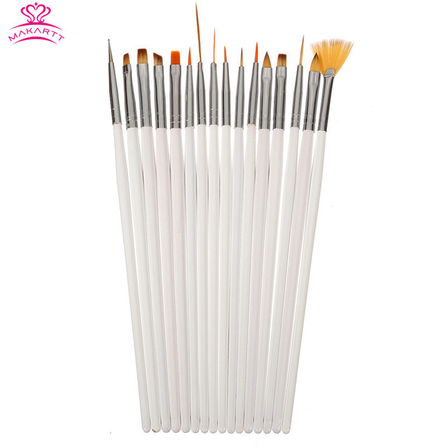 MAKARTT 100SETS/LOT 16pcs Nail Brush Kit Nail Art Design Brushes Gel Set Painting Draw Pen Polish white Handle wholesales G0022X