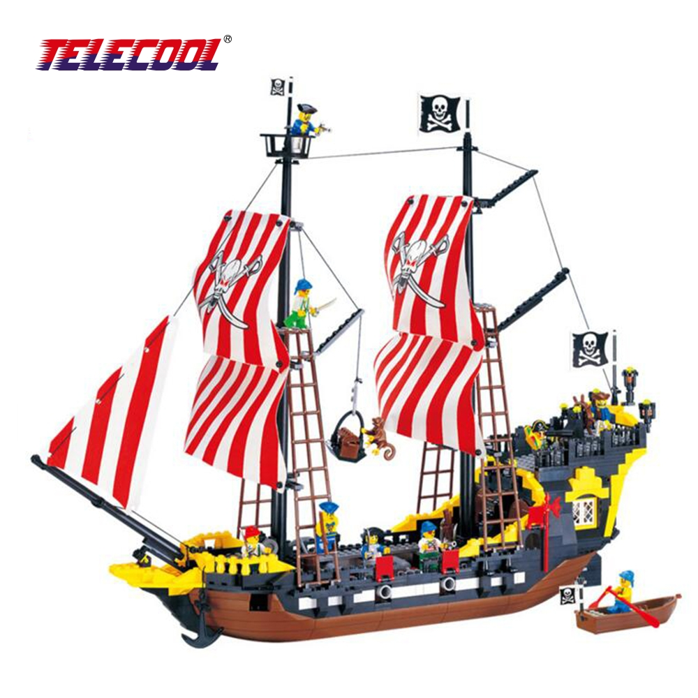 TELECOOL Black Pearl Model 870 Pcs Pirates Series Building Blocks Kit Bricks Educational Toys Gifts in the pvc BOX kazi 608pcs pirates armada flagship building blocks brinquedos caribbean warship sets the black pearl compatible with bricks
