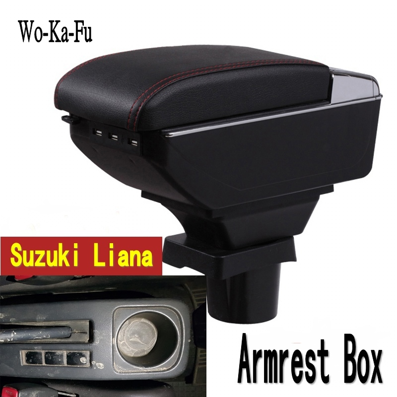 For suzuki liana armrest box central Store content Storage box armrest box with cup holder ashtray USB interface for chery tiggo 2 3x 2016 2017 2018 armrest box central store content box with cup holder ashtray decoration with usb interface