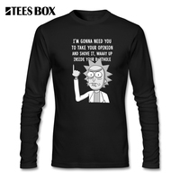 Rick En Morty Gedrukt T-shirt Shove Het Up Mannen Tops Ronde Hals Kleding Lange Mouw Tee Crazy Grappige T-Shirt groothandel