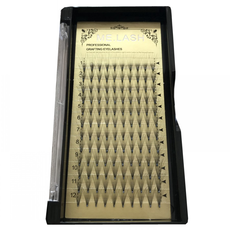 Factory Wholesale 10 Boxes lot 10D Premade Fans Short Stem Individual Eyelashes 0 07mm Thickness C