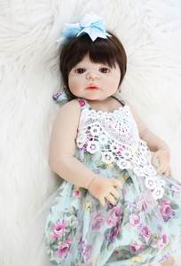 55cm Full Silicone Vinyl Reborn Baby Doll Like Real Princess Toddler Bebe Alive Child Birthday Gift Girls Play House Bathe Toy