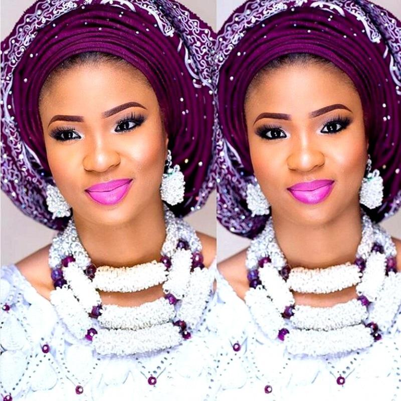 Dudo bijoux blanc et violet gras nigérian perles 3 couches 100% perles Sead fait à la main Godki luxe femmes ensemble de bijoux pour les femmes