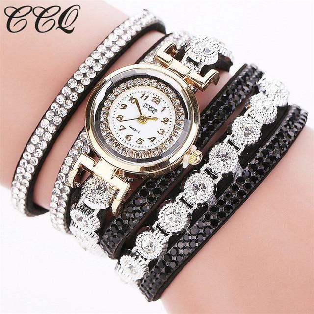 #5001CCQ Women Fashion Casual Analog Quartz Women Rhinestone Watch Bracelet Watc