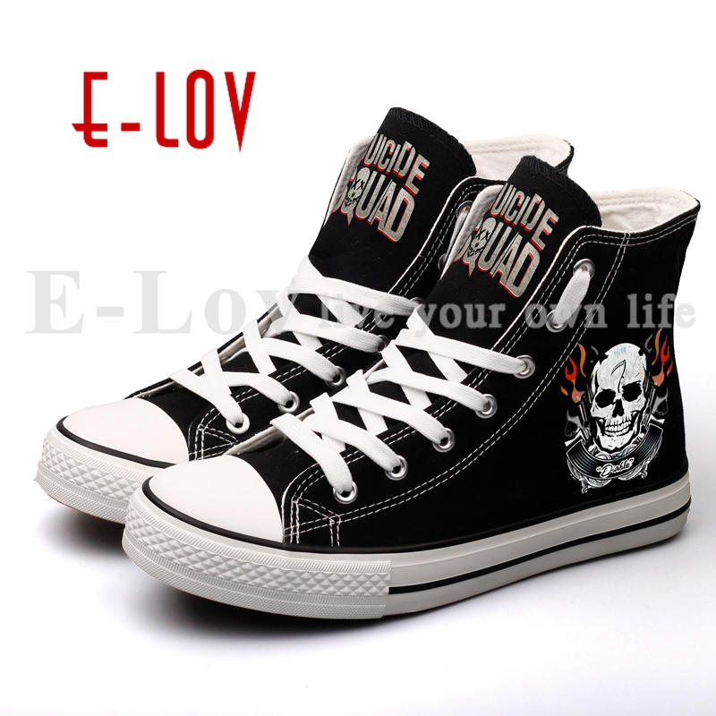 E-LOV Custom Printed Skeleton Suicide Squads Canvas Shoes Cosplay Harley Quinn and Joker Casual Walking Shoes Zapatos e lov women casual walking shoes graffiti aries horoscope canvas shoe low top flat oxford shoes for couples lovers