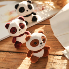 10cm Cartoon Panda Plush Stuffed Toys 4 Colors Cute Animal Key Chain Ring Pendant Wedding Gift Toy