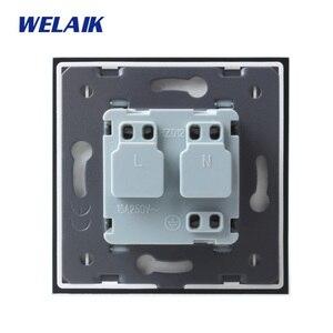 Image 2 - WELAIK EU Muur Socket Europese Standaard Power socket Muur Outlet Gold Crystal Glas  panel AC110 ~ 250V 16A A18EG