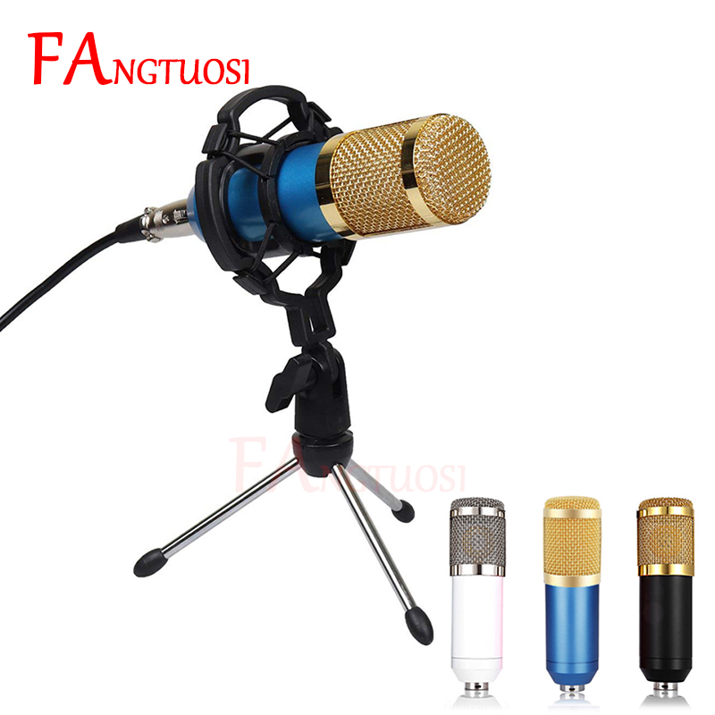 Bm 800 mikrofon condensador microfone de gravação de som para rádio braodcasting cantando gravação ktv karaoke mic com montagem em choque