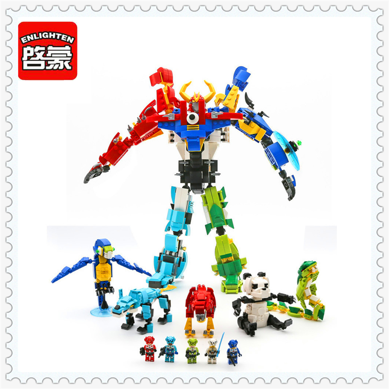ENLIGHTEN 1403 5In1 Dinosaur Parrot Panda Snake Building Block 5Pcs DIY Educational  Toys For Children Compatible Legoe decool 3117 city creator 3 in 1 vacation getaways model building blocks enlighten diy figure toys for children compatible legoe