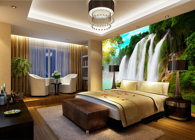 Custom wallpaper forest 3D  river waterfall for living room bedroom TV background wall waterproof papel de parede in Wallpapers from Home
