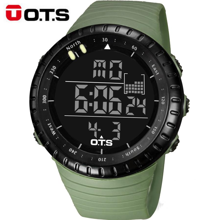 OTS Lüks Marka Erkek Spor Saatler Erkekler Su Geçirmez Açık Elektronik LED Dijital İzle Erkekler Casual Bilek İzle Relogio Masculino