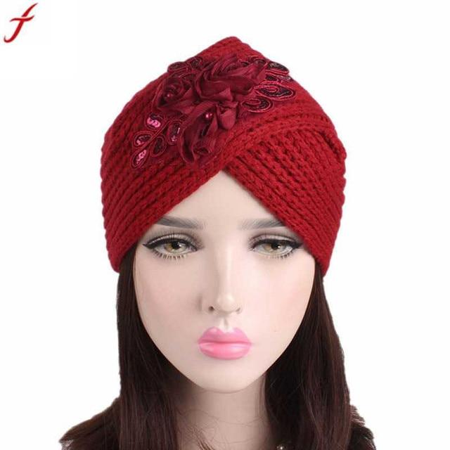 2018 Women Ladies Beanie Hat Retro Winter Knitting Hat Turban With