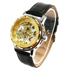 Winner Mens - self-winding mechanical watch leather bracelet golden