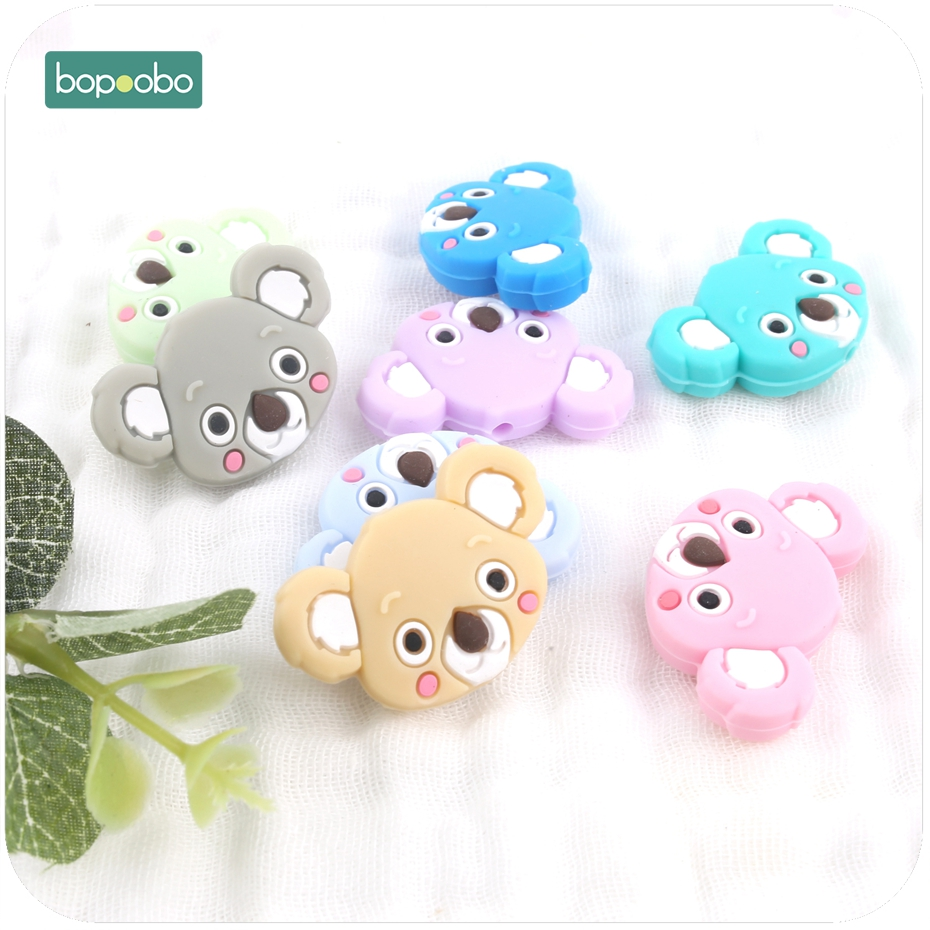 Bopoobo 6pc Silicone Mini Koala Silicone Teethers Ecofriendly Baby Teething Accessories Food Grade Silicone Beads Baby Teether