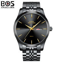 Relogio Masculino ANGELA BOS Mens Watches Top Brand Luxury Business Quartz Wrist Watch Week Date Display Clock Saat Reloj Hombre(China)