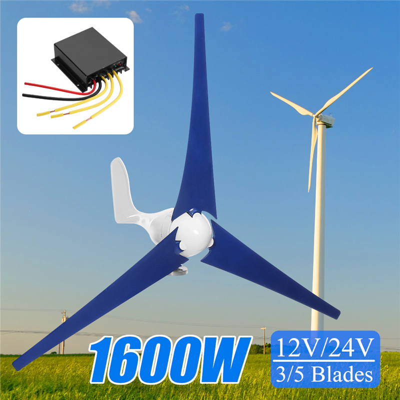 Hot 1600W 12/24V Wind for Turbine Generator 3/5 Wind Blades OptionWind Controller Gift Fit for Home +Mounting accessories bag