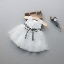 new born kid baby girl dress vestido infantil bebe P lace baby dress wedding party gowns bow sleeveless girls baptism 1 year цены
