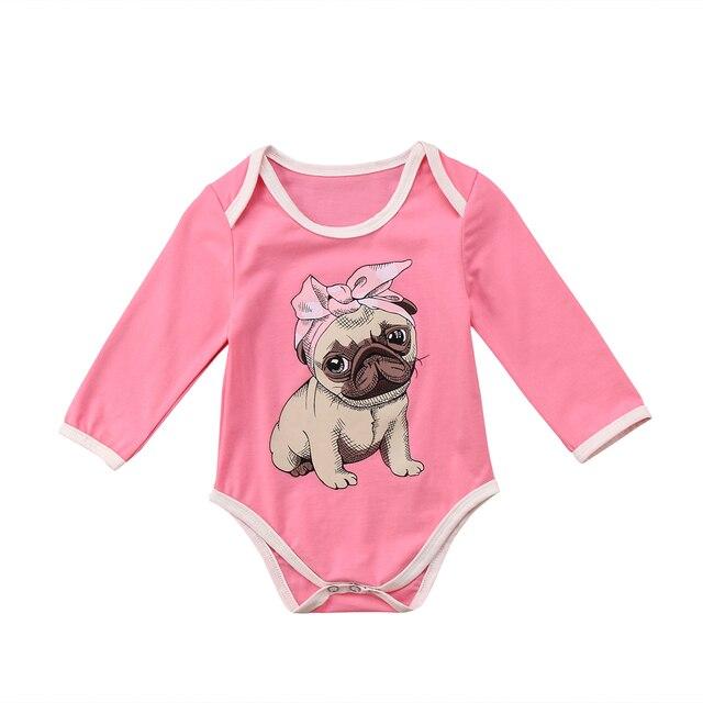 0ae4c6e60a5 2018 Crianças Doces Do Bebê Meninas Romper Rosa Bulldog Impressão Macacão  Outfits Primavera Bonito Roupas de