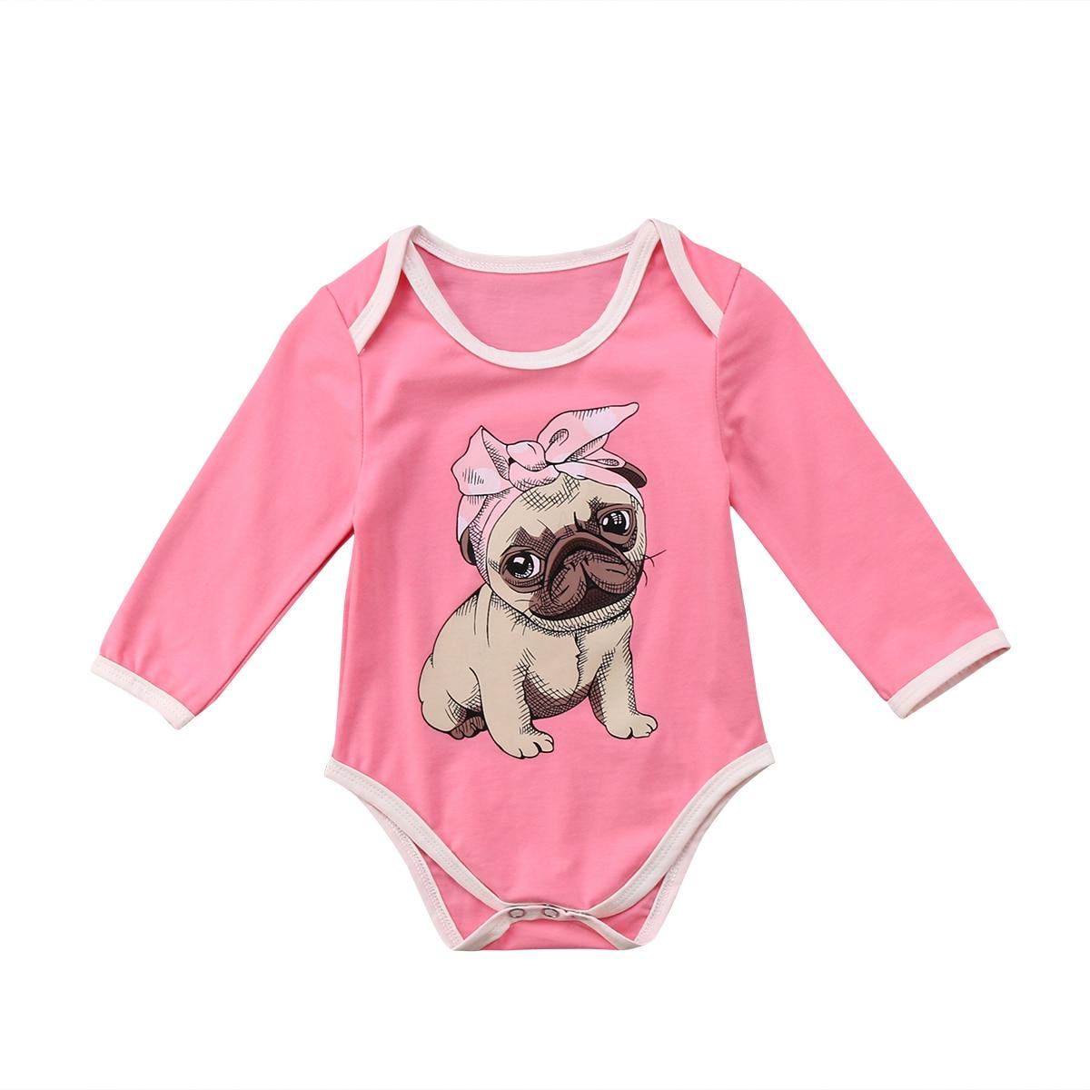 Diszipliniert 2018 Süße Kinder Baby Mädchen Rosa Strampler Bulldog Drucken Overall Outfits Langarm Rosa Frühling Nette Kleidung