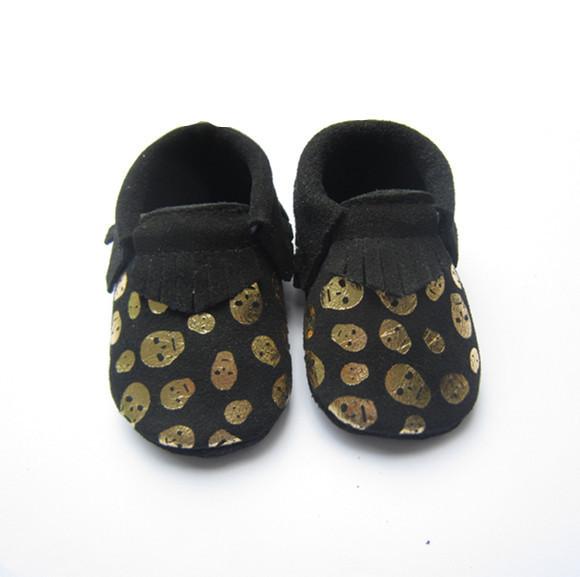 Moda Negro Cráneo Mocasines Zapatos de Bebé de Cuero Genuino Bebé Chicas Chicos Zapatos Recién Nacidos Primeros Caminante Zapatos del niño Bebe