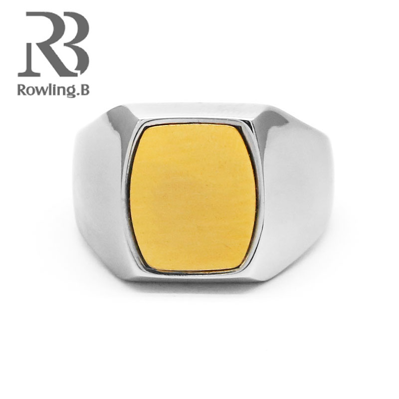 Classic Rings Square Big Width Signet Rings Stainless Steel man Finger Trendy Jewelry Silver Color Men Fashion Jewelry anel New