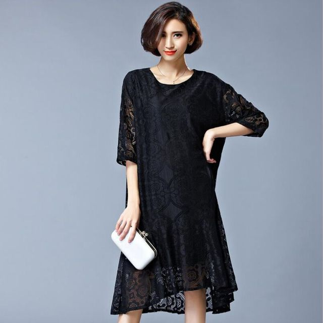 6ceb3f493bfb Latest Summer Fashion Women Dress Leisure Round collar Pullover Short  sleeves Lace Dress Black Loose Big yards Clothing NZ165