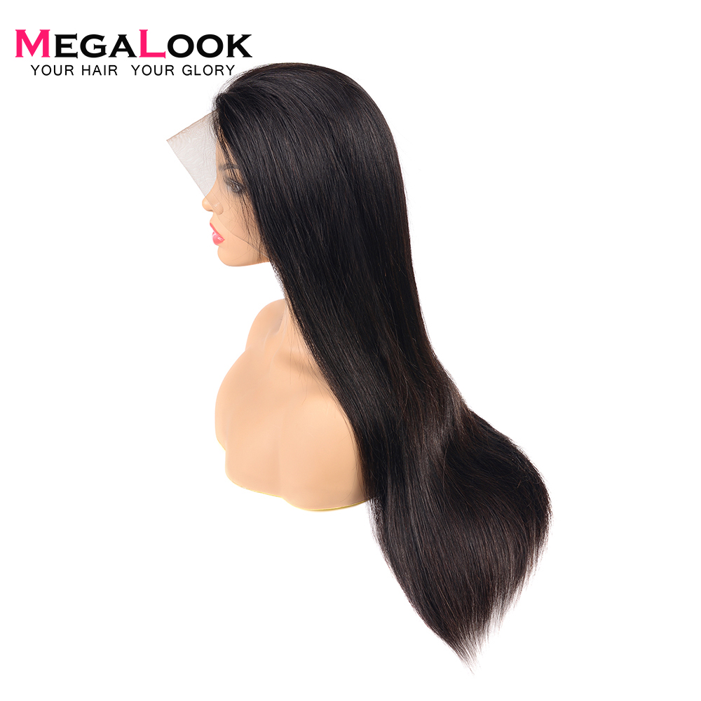 Megalook 13X6 Lace Front Human Hair Wigs 200 Density Straight Remy Human Hair Lace Frontal Wig
