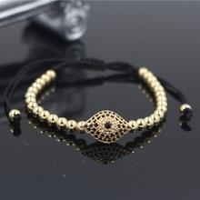 PINIYA Handmade Anil Arjandas Miro Pave Setting CZ Eye Charm Braiding Macrame Bracelets & Bangles Jewelry For Men Women Gift