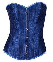 Overbust Party Costumes Clothing Set 3079 Blue Sexy Women Lace Up Boned Bustiers Corset