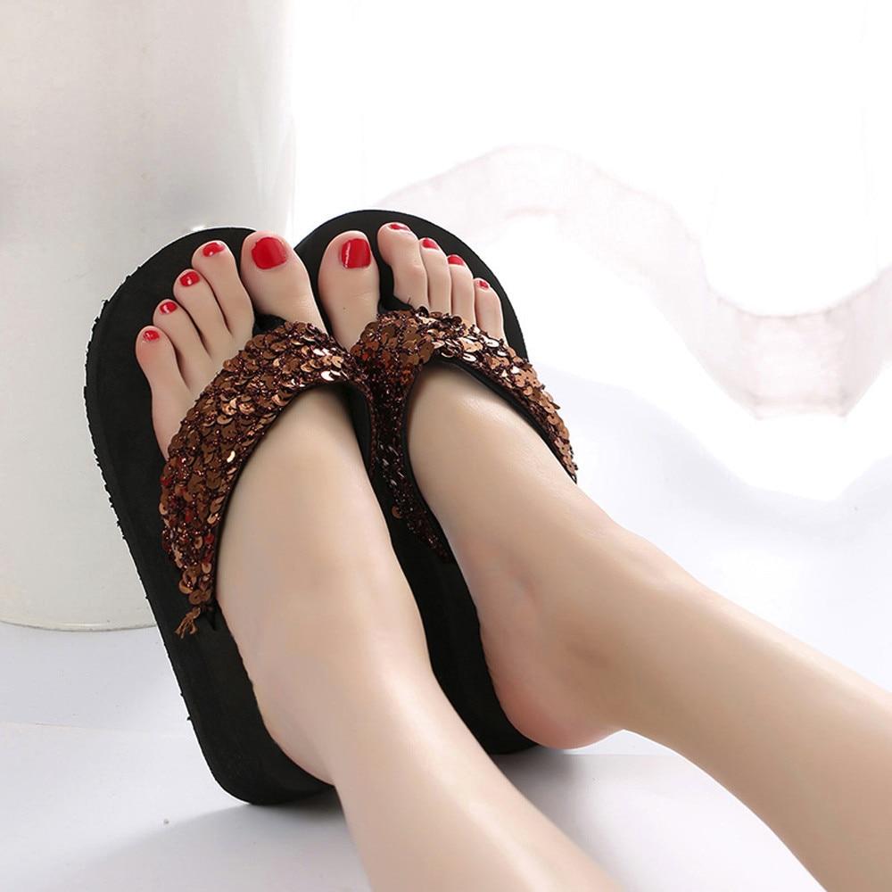 HTB1veC3cMmH3KVjSZKzq6z2OXXaC Summer Women Flip Flops Casual Sequins Anti-Slip slippers Beach Flip Flat Sandals Beach Open Toe Shoes For Ladies Shoes #L5