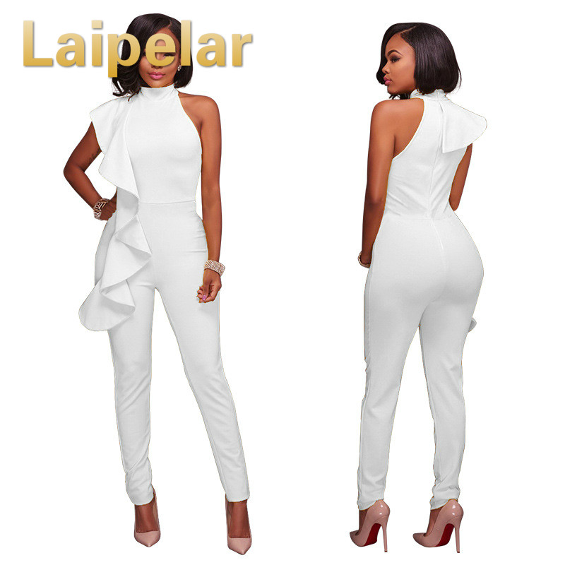 Laipelar Sexy Ruffles Jumpsuits Overalls Elegant Women Sexy Casual One Shoulder Long Playsuits Rompers Womens Clubwear Jumpsuit in Jumpsuits from Women 39 s Clothing