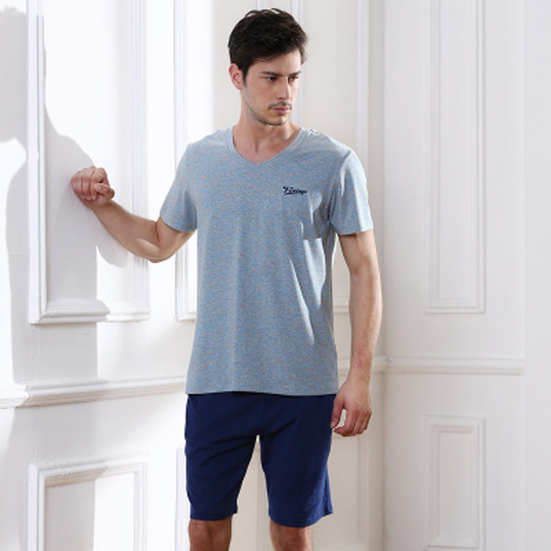 100% Cotton Summer Men's Pajamas Short Sleeve Home Clothing O-neck Strip Men Night Sleepwear Men's Sleepwear