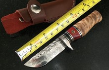 Forging Damascus Collection Fixed Knives,Wooden Handle Camping Survival Knife,Hunting Knife.