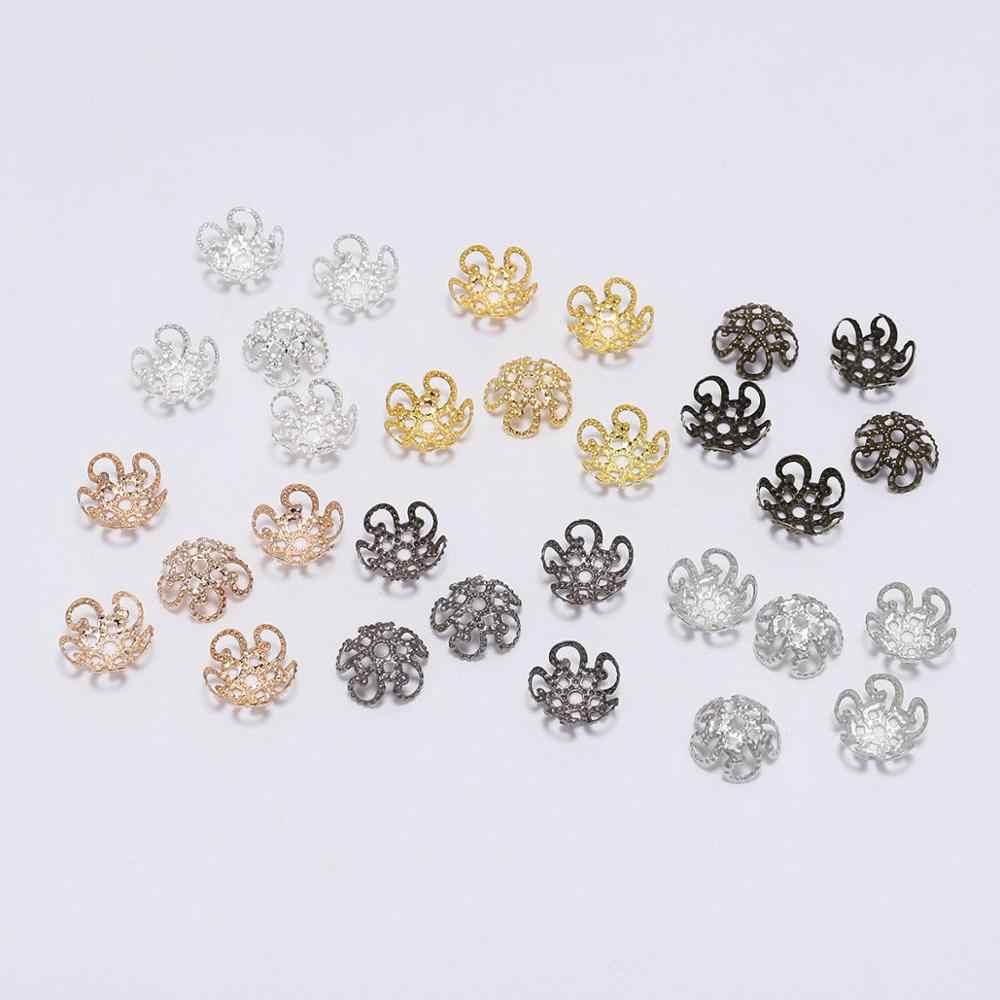 100 Pcs 8 10 Mm Perak Emas Logam Berongga Bunga Spacer Beads Ujung Liontin Diy Hiasan Konektor untuk Perhiasan membuat Temuan